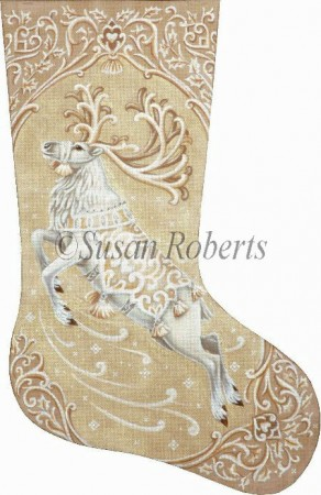 click here to view larger image of Ivory Reindeer Stocking (hand painted canvases)