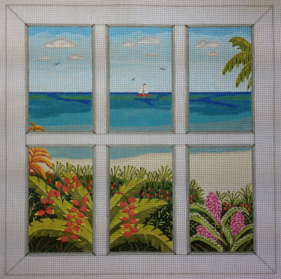 click here to view larger image of Beach Window (hand painted canvases)