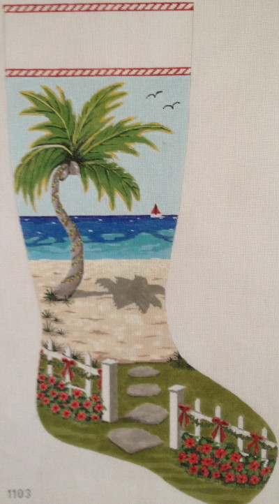 click here to view larger image of Seaside Christmas Stocking (hand painted canvases)