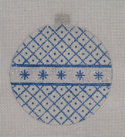 click here to view larger image of Blue and Glittered Ornament (hand painted canvases)