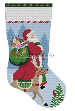 click here to view larger image of Tasseled Santa and Reindeer (hand painted canvases)