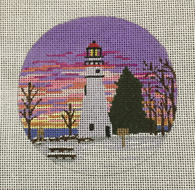 click here to view larger image of Marblehead Light Ornament (hand painted canvases)