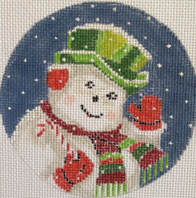 click here to view larger image of Festive Snowman Ornament (hand painted canvases)