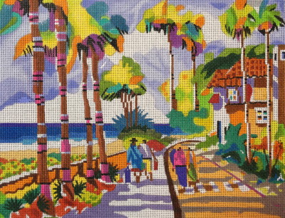 click here to view larger image of Palm Beach Morning (hand painted canvases)
