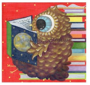 click here to view larger image of Reader Owl (hand painted canvases)