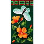 click here to view larger image of Flowers and Butterfly Eyeglass Case (hand painted canvases)