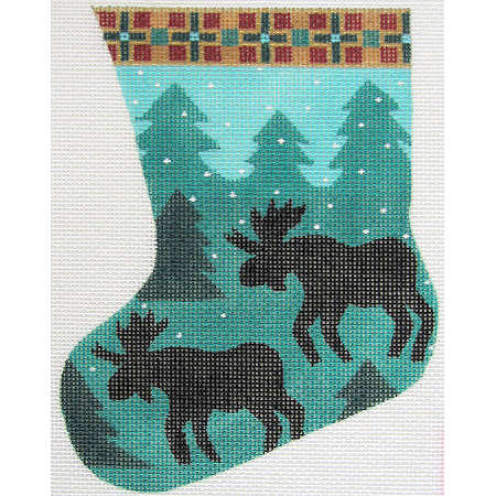 click here to view larger image of Moose Mini Stocking (hand painted canvases)