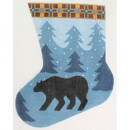 click here to view larger image of Bear Mini Stocking (hand painted canvases)