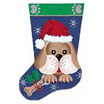 click here to view larger image of Puppy Stocking (hand painted canvases)