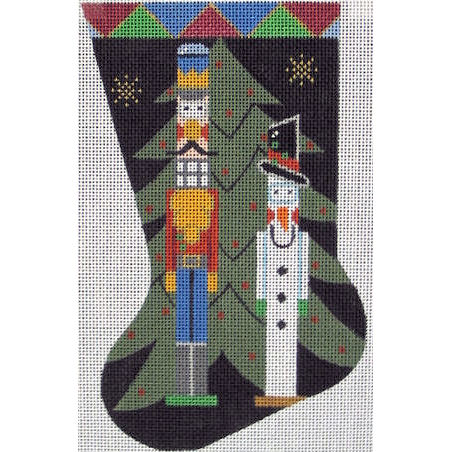 click here to view larger image of Nutcracker and Snowman Mini Stocking (hand painted canvases)