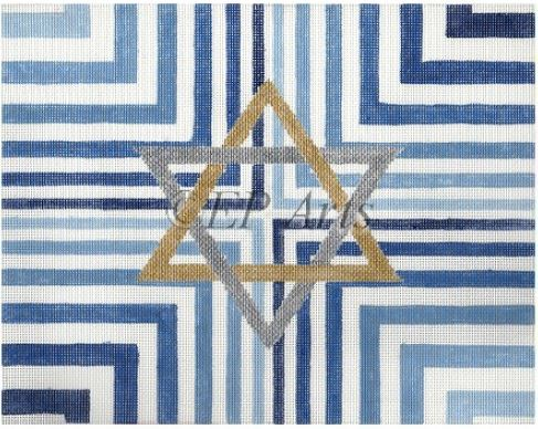 click here to view larger image of Blue Stripe Star Tallis (hand painted canvases)