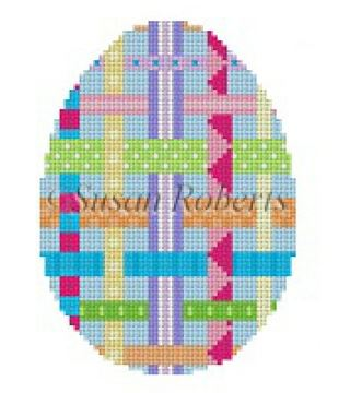click here to view larger image of Woven Ribbons Egg (hand painted canvases)