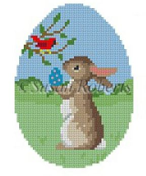 click here to view larger image of Rabbit with Cardinal (hand painted canvases)