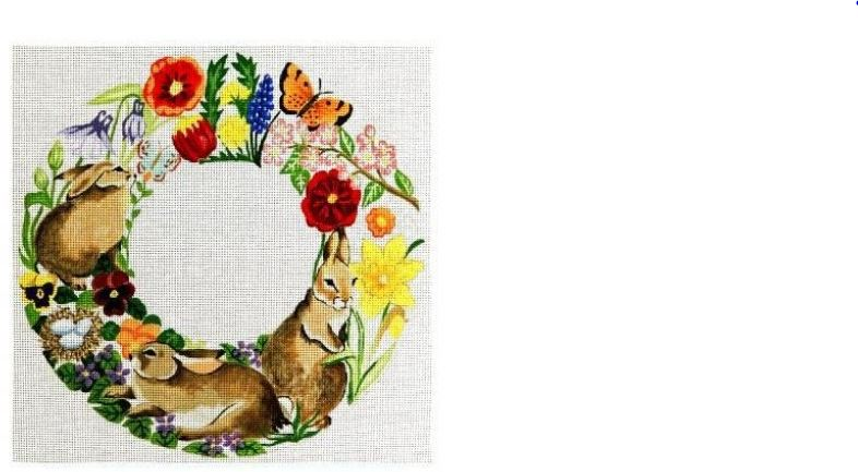 click here to view larger image of Rabbits in Spring Flowers Wreath (hand painted canvases)