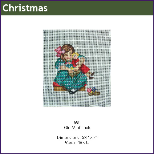 click here to view larger image of Girl and Toy Mini Stocking (hand painted canvases)