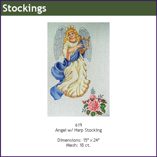 click here to view larger image of Angel With Harp Stocking (hand painted canvases)