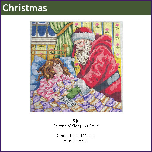 click here to view larger image of Santa With Sleeping Child (hand painted canvases)