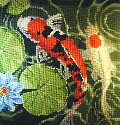 click here to view larger image of Picture of Koi (Right Facing) (hand painted canvases)