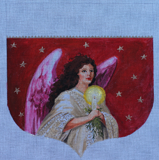click here to view larger image of Angel With Candel Stocking Cuff (hand painted canvases)