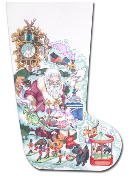 click here to view larger image of Dreaming Santa Stocking (hand painted canvases)