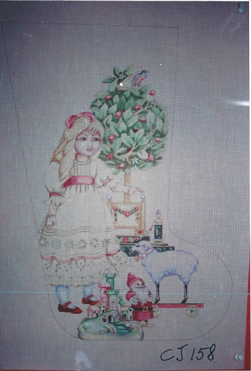 click here to view larger image of Doll With Toys Stocking (hand painted canvases)