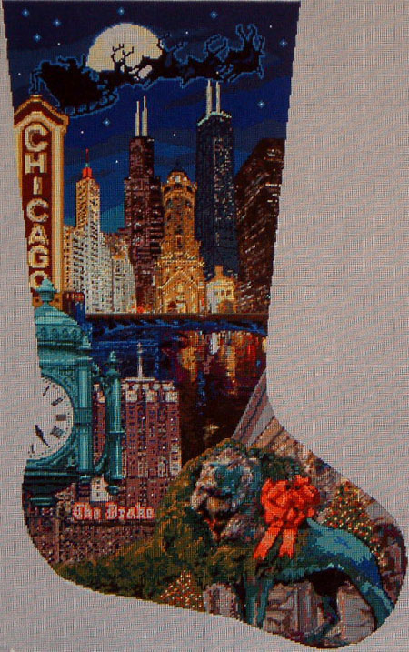 click here to view larger image of Chicago Stocking-13ct (hand painted canvases)