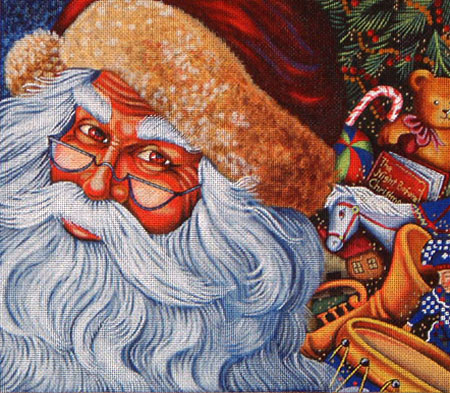 click here to view larger image of Santa With Eyeglasses (hand painted canvases)