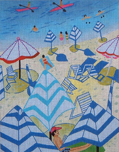 click here to view larger image of Blue Beach (hand painted canvases)