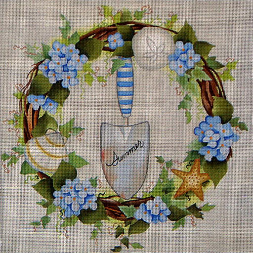 click here to view larger image of Summer Wreath (hand painted canvases)