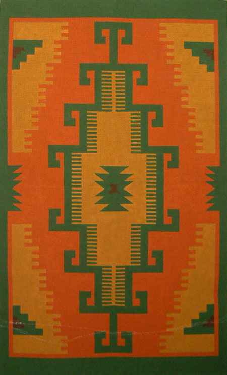 click here to view larger image of Sage Zapotec Rug (hand painted canvases)