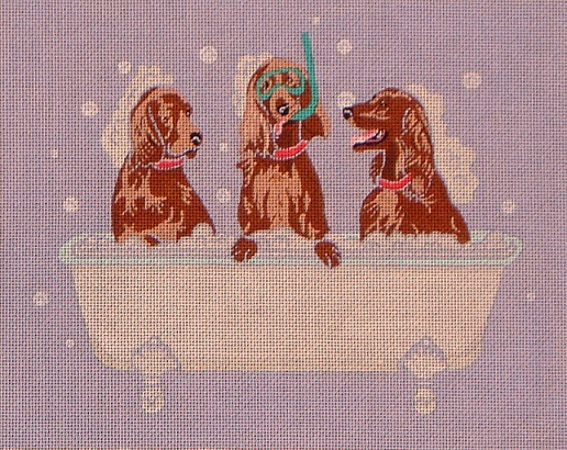 click here to view larger image of English Setters Spa Day (hand painted canvases)