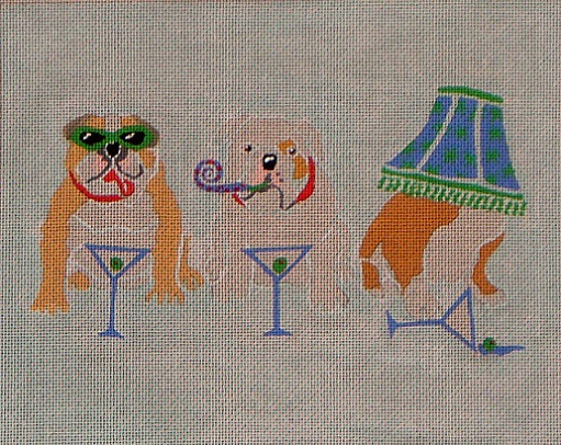 click here to view larger image of Bull Dog Party (hand painted canvases)