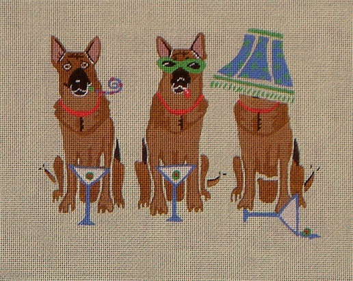 click here to view larger image of German Shepherd Party (hand painted canvases)