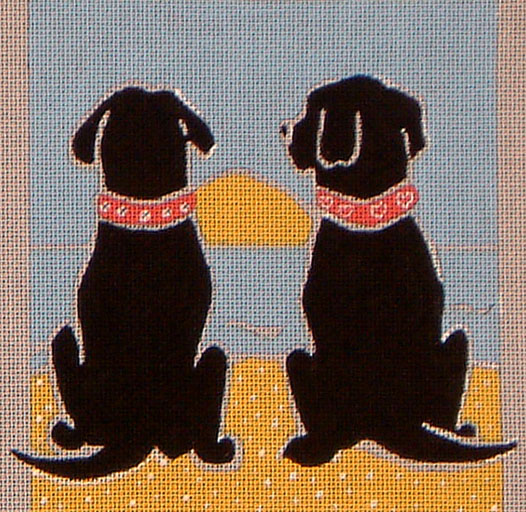 click here to view larger image of Black Lab Honeymooners (hand painted canvases)