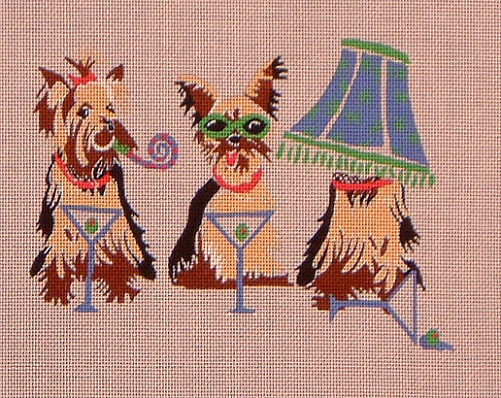 click here to view larger image of Yorkie Party (hand painted canvases)
