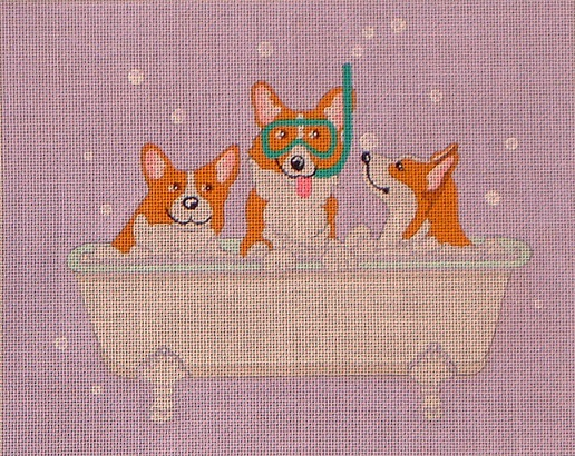 click here to view larger image of Corgi Spa Day (hand painted canvases)