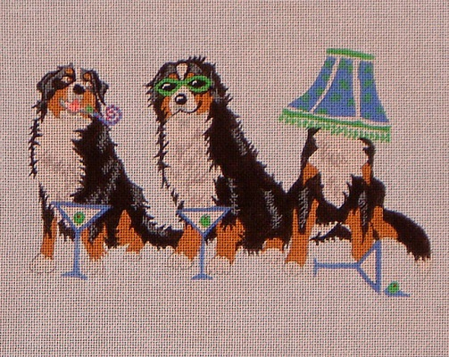 click here to view larger image of Bernese Mountain Dog Party (hand painted canvases)