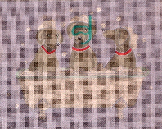 click here to view larger image of Weimaraner Spa Day (hand painted canvases)