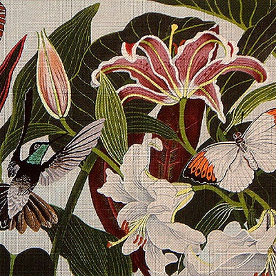 click here to view larger image of Hummingbirds With Lilies (hand painted canvases)