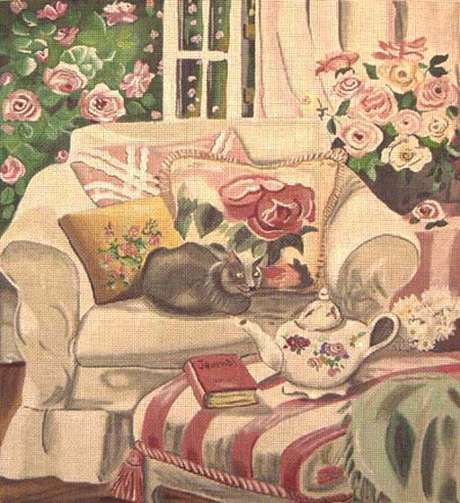 click here to view larger image of Cat and Teapot (hand painted canvases)