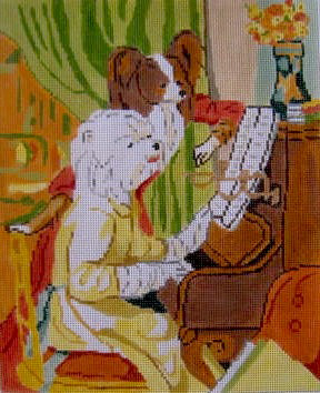 click here to view larger image of Renoir's Westie and Papillion (hand painted canvases)