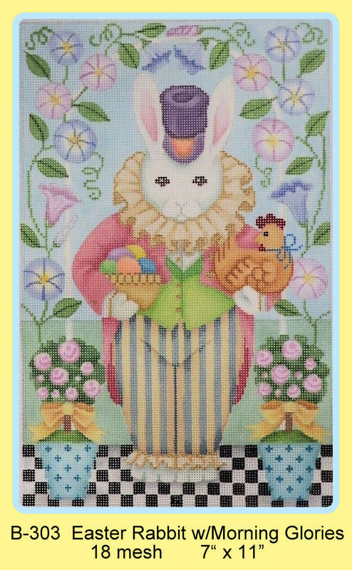 click here to view larger image of Easter Rabbit With Morning Glories (hand painted canvases)