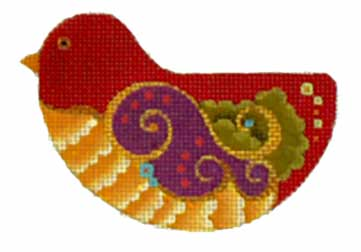 click here to view larger image of Fancy Swirl-Wing Bird (hand painted canvases)