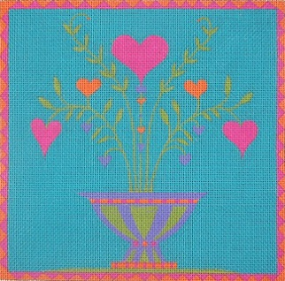 click here to view larger image of Potted Love (hand painted canvases)