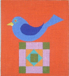 click here to view larger image of Bluebird On A Quilt (hand painted canvases)