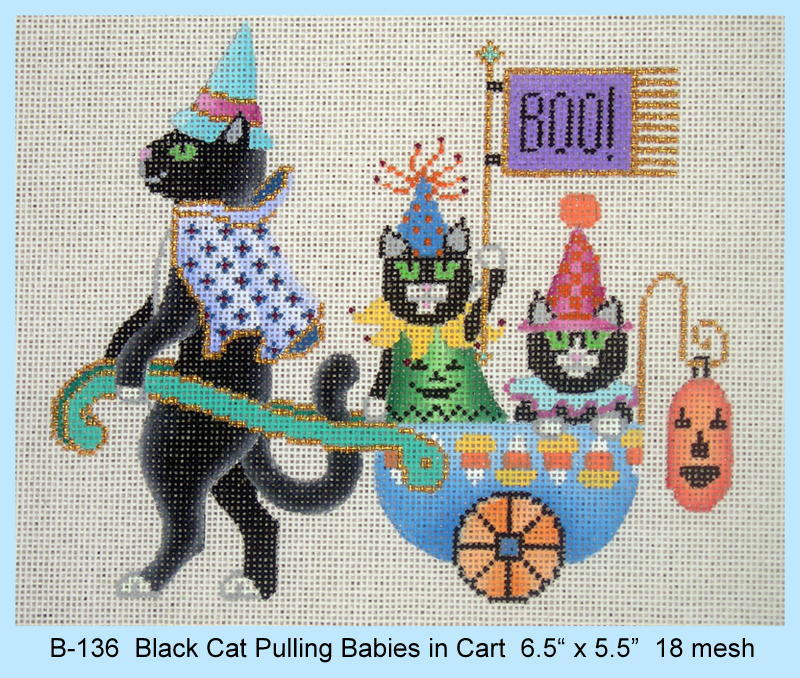click here to view larger image of Black Cat Pulling Babies in Cart (hand painted canvases)