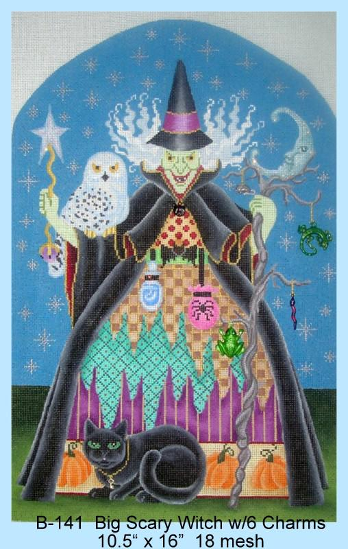 click here to view larger image of Big Scary Witch (includes 6 charms) (hand painted canvases)