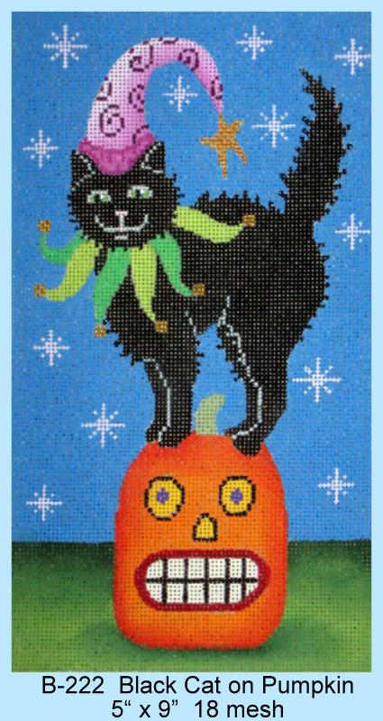 click here to view larger image of Black Cat On Pumpkin (hand painted canvases)