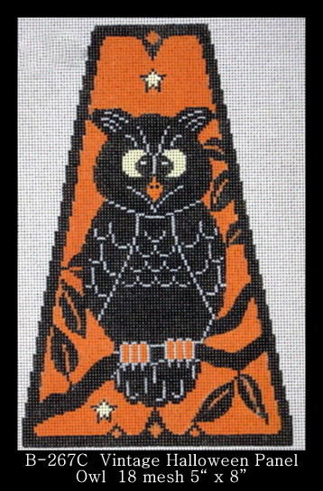 click here to view larger image of Vintage Halloween Panel - Owl (hand painted canvases)