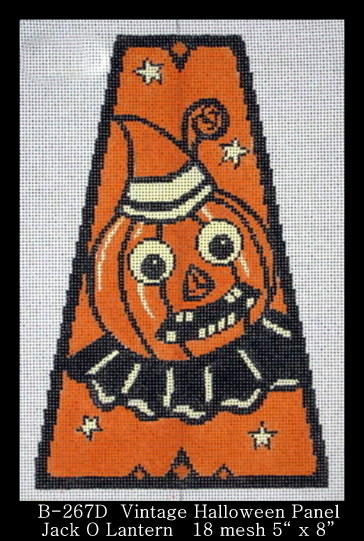 click here to view larger image of Vintage Halloween Panel - Jack O Lantern (hand painted canvases)